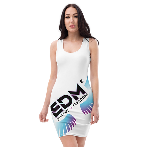 Body Con Dress EDM Journey to Freedom Multi Print - White