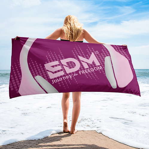 Beach / Bath Towel - EDM J to F Headphones Pink / Grey - Plum