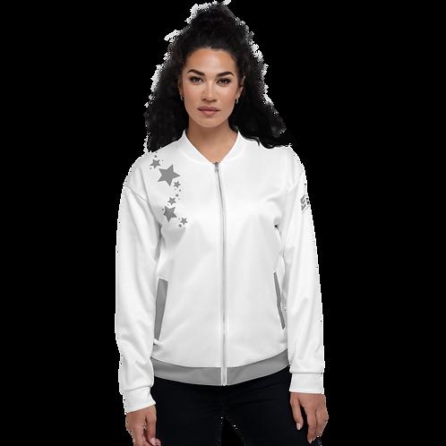 Women's Unisex Fit Bomber Jacket - EDM J to F - White Grey Star