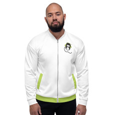 Mens Unisex Fit Bomber Jacket - GS Music Academy - White / Green