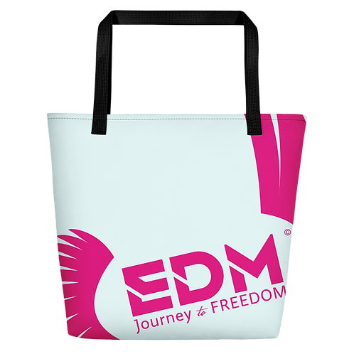 Beach Bag - Ice Blue EDM Journey to Freedom Print - Hot Pink