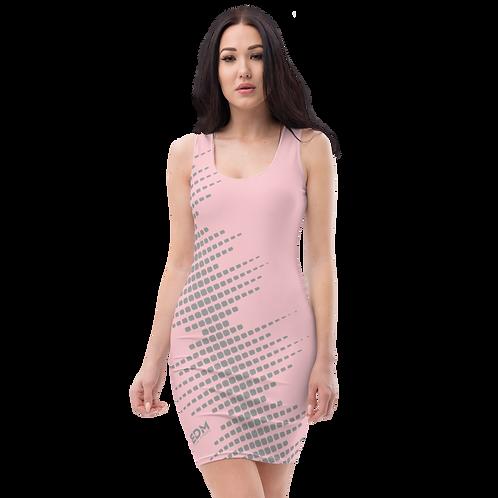 Body Con Dress - EDM J to F Sound Bars Grey - Baby Pink