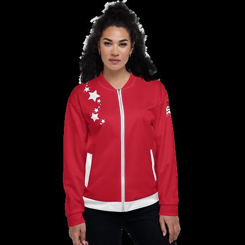 Women's Unisex Fit Bomber Jacket - EDM J to F - Dark Red White Star