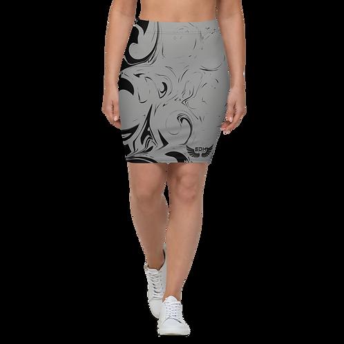 Women's Pencil Skirt-EDM J to F Grey Swirl - Black