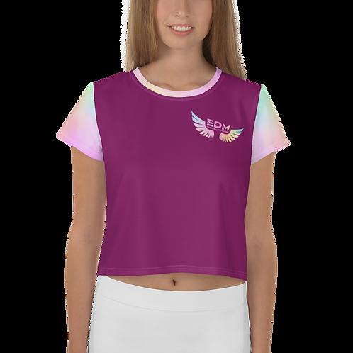 Womens Crop Top - Tye Dye Pastels EDM J to F Wings Logo - Plum