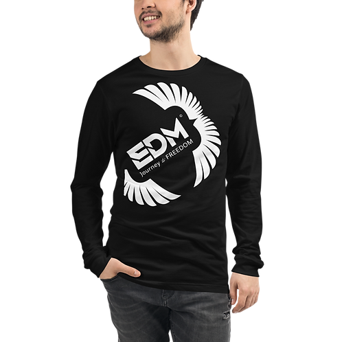 Mens Long Sleeve T-shirt - EDM J to F Square Wings Logo White - Various