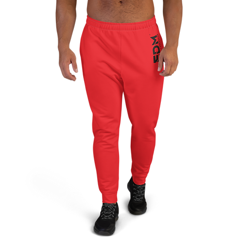 Red Men's Joggers - EDM Journey to Freedom Small Print - Black