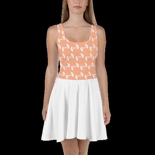 Skater Dress EDM J to F Top Pattern Print White - Peach / White