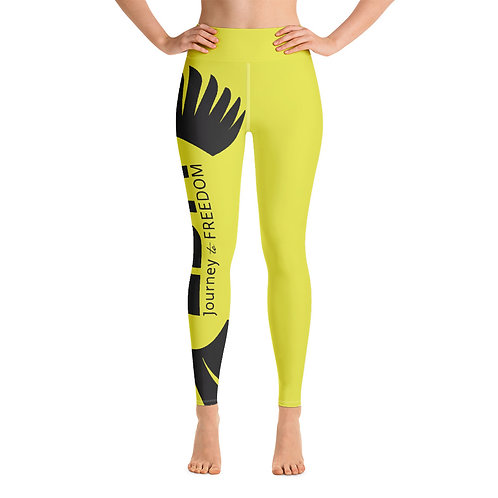 Women's Yoga Leggings Dark Yellow - EDM Journey to Freedom Print Style 2 - Black