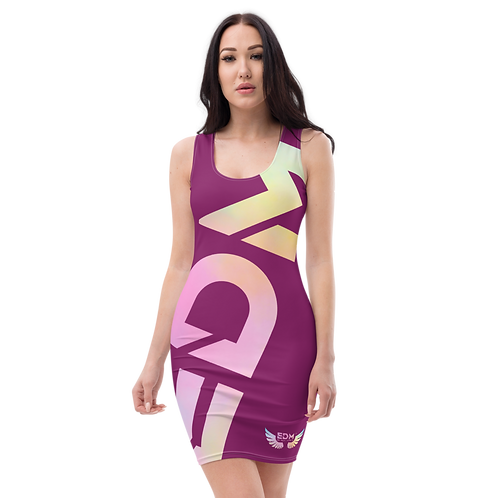Body Con Dress - EDM J to F Logo Tye Dye Pastels - Plum