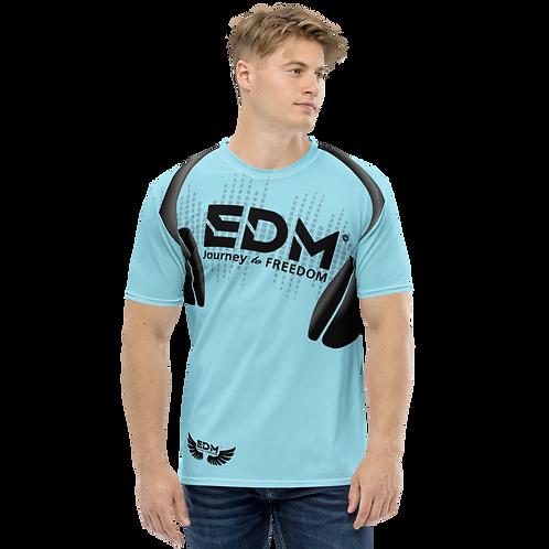 Men's T-shirt - EDM J to F Headphones Black - Sky Blue