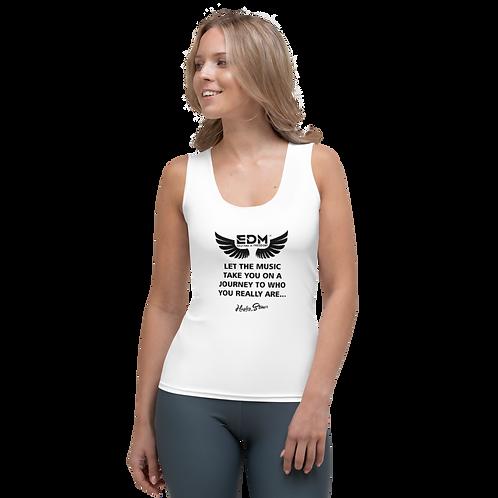 Women's Vest - EDM J to F Slogan Print Black - White
