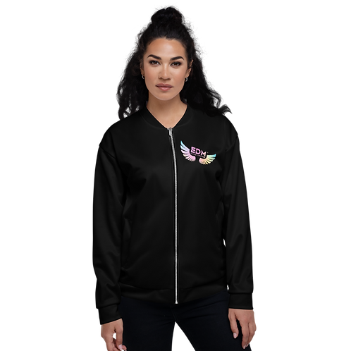 Women's Unisex Bomber Jacket - EDM J to F Tye Dye - Black