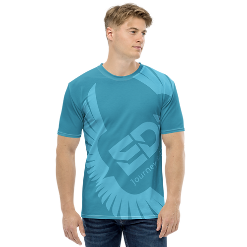 Men's T-shirt Blue Teal - EDM Journey to Freedom Large Print - Blue