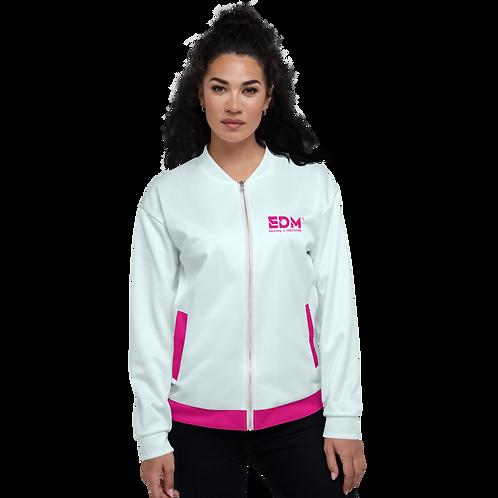 Women's Unisex Fit Bomber Jacket - EDM Journey to Freedom Ice Blue / Hot Pink
