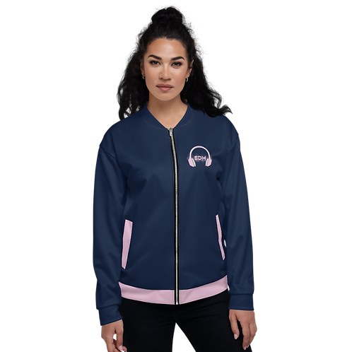 Women's Unisex Fit Bomber Jacket - EDM J to F - Pale Pink DJ Style - Navy