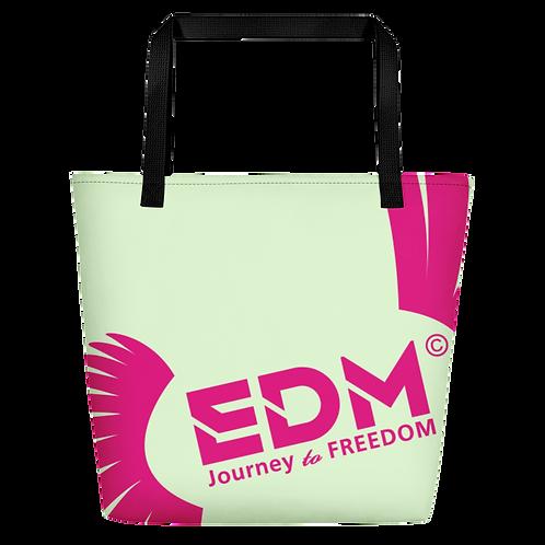 Beach Bag - Light Green EDM Journey to Freedom Print - Hot Pink