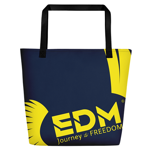 Beach Bag - Navy EDM Journey to Freedom Print - Yellow