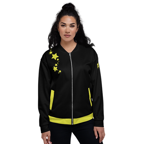 Women's Unisex Fit Bomber Jacket - EDM J to F - Black Lime Yellow Star