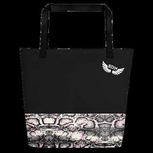 Beach Bag - EDM J to F Snake Print - Black