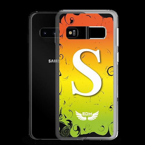 Samsung Case Orange Yellow Green/White - EDM J to F Print - Personalised Initial