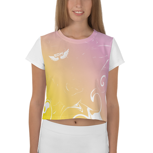Women's Crop Top - EDM J to F Gradient Yellow/ Pink - White