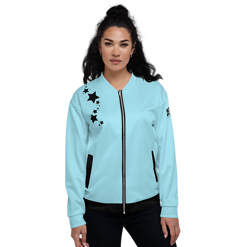 Women's Unisex Fit Bomber Jacket - EDM J to F - Sky Blue Black Star