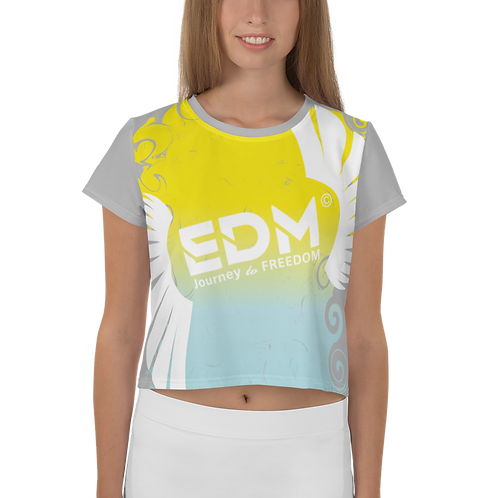 Women's Crop Top - EDM J to F Gradient Swirl Yellow/Blue Large Logo White - Grey