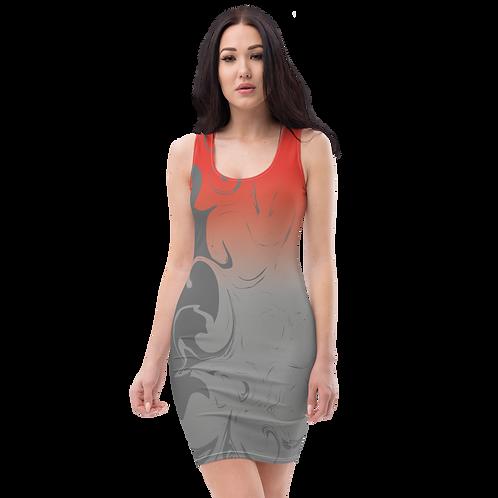 Body Con Dress - EDM J to F Red/Grey Gradient Swirl - Charcoal