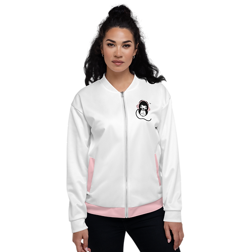 Women's Unisex Fit Bomber Jacket - GS Music Academy - White / Pink Detail