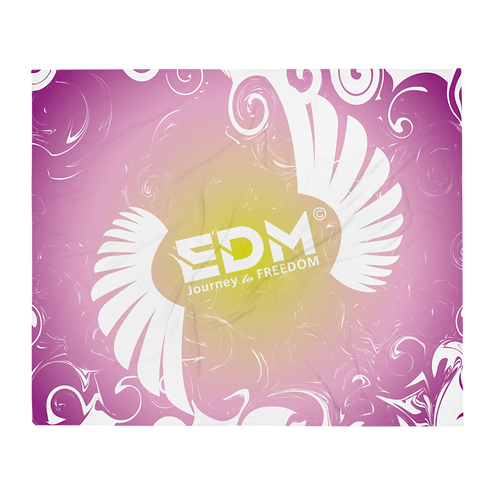 Fleece Throw Blanket-50 x 60cm-EDM J to F Swirl Design-Purple/Yellow/White