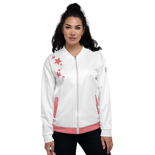 Women's Unisex Fit Bomber Jacket - EDM J to F - White Coral Star