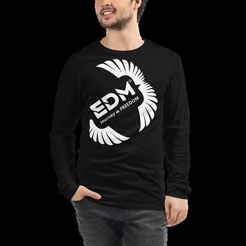 Mens Long Sleeve T-shirt - EDM J to F Square Wings Logo White - Black