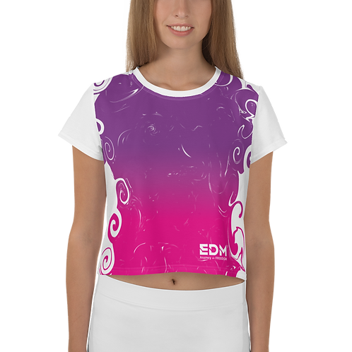 Women's Crop Top - Gradient Hot Pink/Purple - EDM J to F Small Logo White