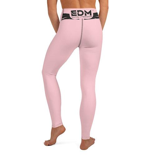 Women's Yoga Leggings Baby Pink - EDM Jorney to Freedom Print - Black