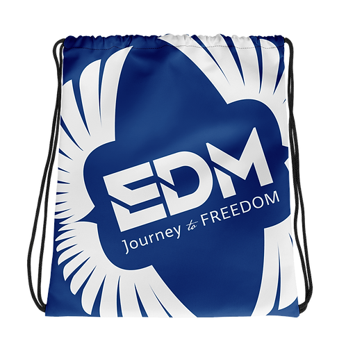 Royal Blue Drawstring Bag - EDM Journey to Freedom Large Print - White
