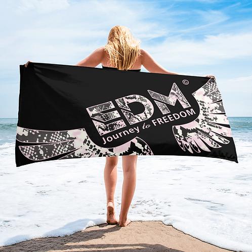 Beach Towel / Towel - EDM J to F Snake Print Logo - Black / Pink