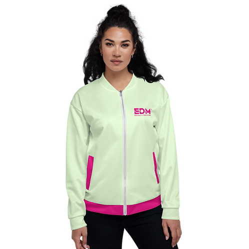 Women's Unisex Fit Bomber Jacket - EDM Journey to Freedom Mint / Hot Pink