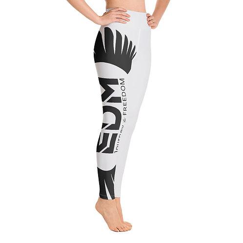 Women's Yoga Leggings Light Grey - EDM Journey to Freedom Print Style 2 - Black