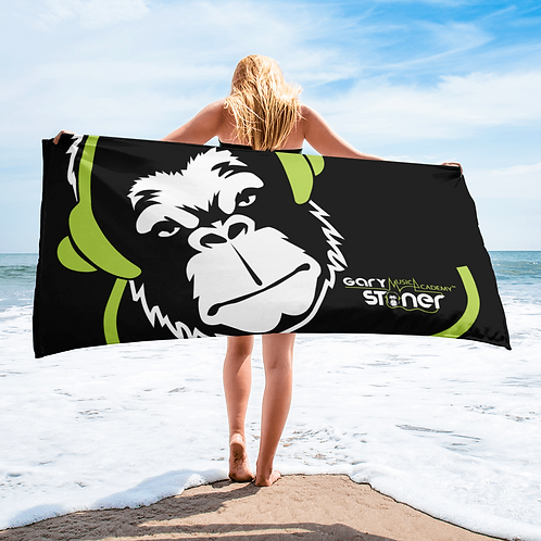 Beach Towel / Towel - GS Music Academy Ape DJ Green - Black