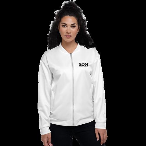Women's Unisex Fit Bomber Jacket - EDM Journey to Freedom White / Black