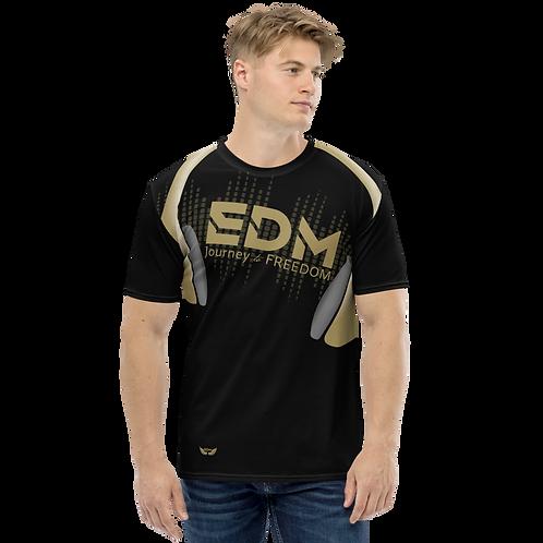 Men's T-shirt - EDM J to F Headphones - Gold/Black