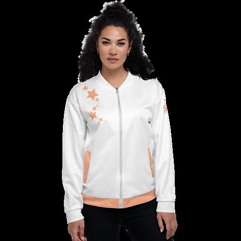 Women's Unisex Fit Bomber Jacket - EDM J to F - White Peach Star