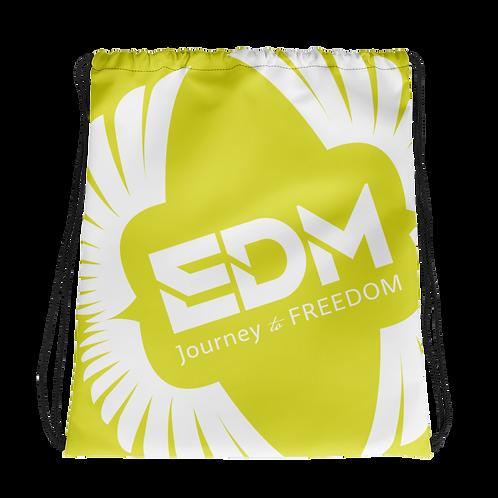 Lime Yellow Drawstring Bag - EDM Journey to Freedom Large Print - White