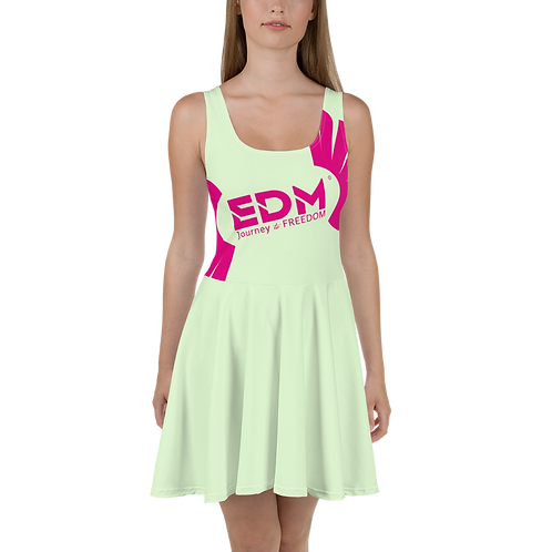 Womens Mint Skater Dress EDM Journey to Freedom Print Style 8 - Hot Pink