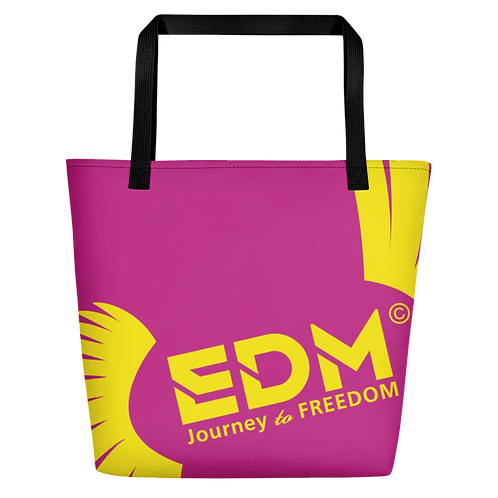 Beach Bag - Dark Pink EDM Journey to Freedom Print - Yellow