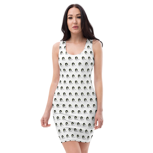 Women's Body Con Dress - GS Music Academy Ape DJ Pattern - White