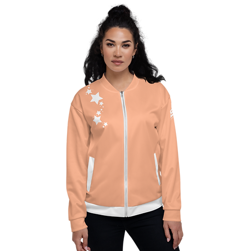 Women's Unisex Fit Bomber Jacket - EDM J to F - Peach White Star