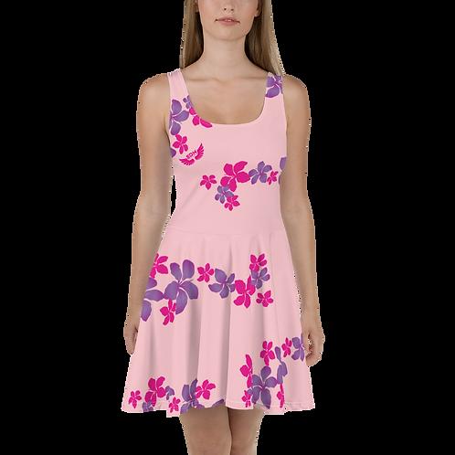 Women's Skater Dress Flower Pattern Print - Baby Pink