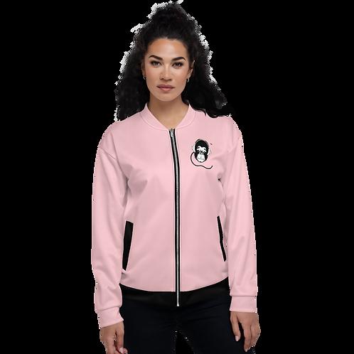 Women's Unisex Fit Bomber Jacket - GS Music Academy - Pink / Black Detail